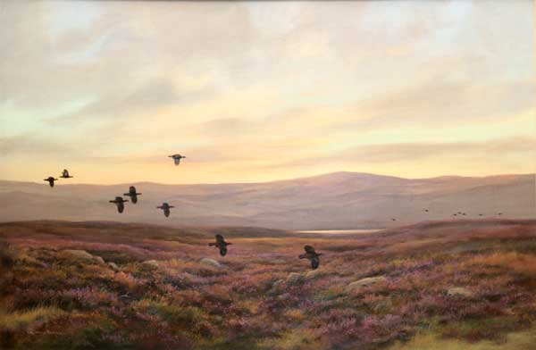 Colin Burns' (b.1944) scene of game birds and heather on the Scottish moors titled Balintore - Red Grouse sold for £3200